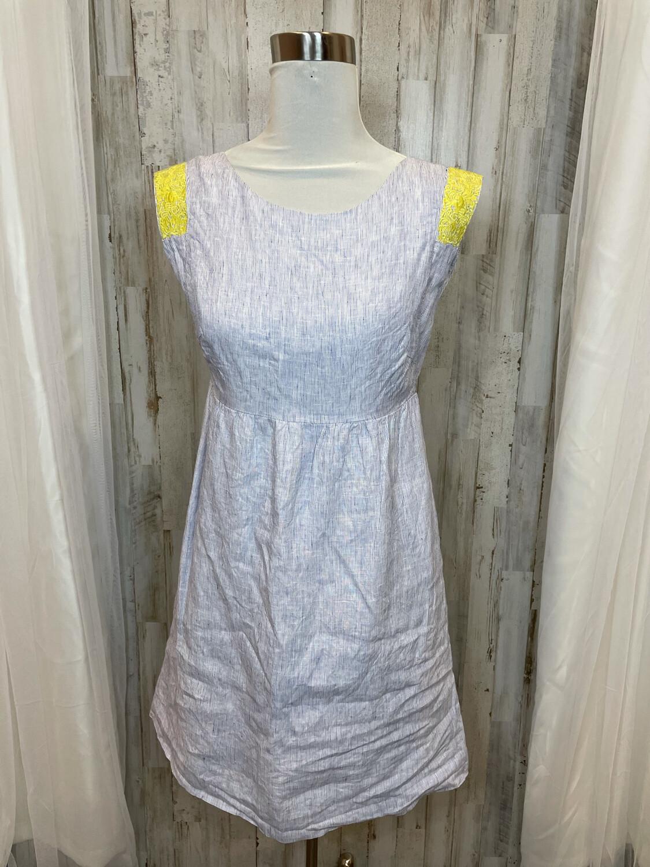 J. Crew Blue & White Striped Dress w/Yellow Embroidery - Size 4