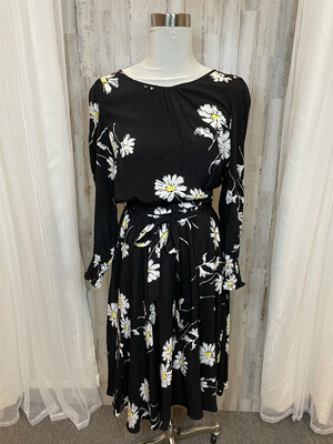 Talbots Black Daisy Print Dress w/Tie - Size 8P