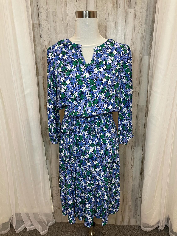 Talbots Petite Blue Floral Print Dress w/Tie - Size 10P