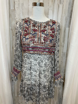 White Sheer Dress w/Black Floral Print & Beaded Accent - M/L