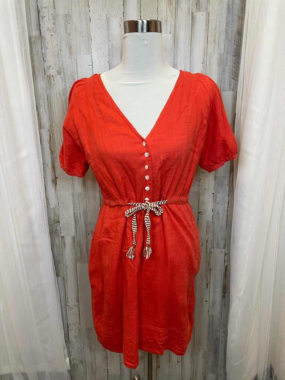 J. Crew Coral Dress w/Tie at Waist & Button Accent - Size 4