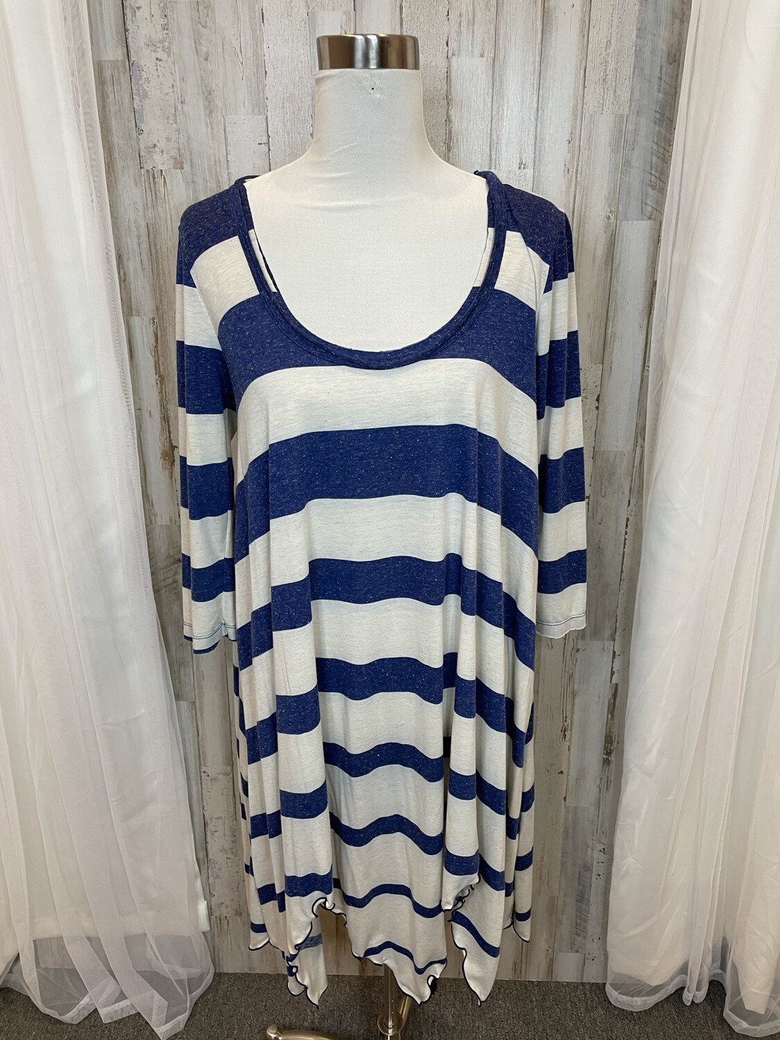 FP Beach Blue & White Striped Dress - M