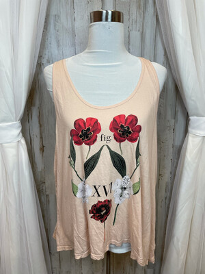 Truly Madly Deeply Peach Floral Tank - L