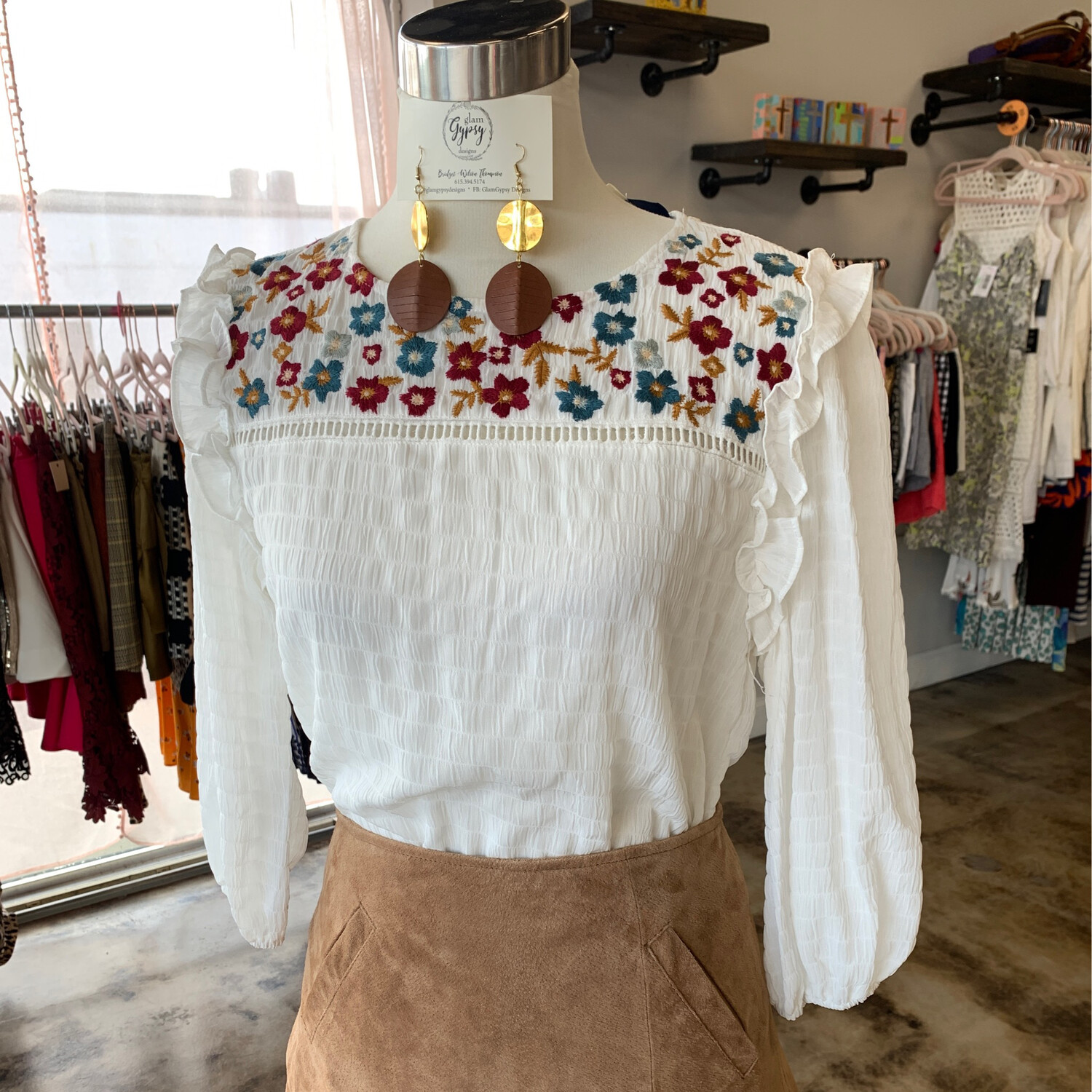 Blue Rain White Floral Embroidered Top - S
