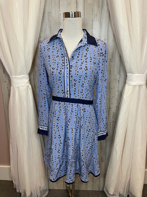 Draper James Navy & Blue Floral Dress w/Ribbon Waist - Size 8