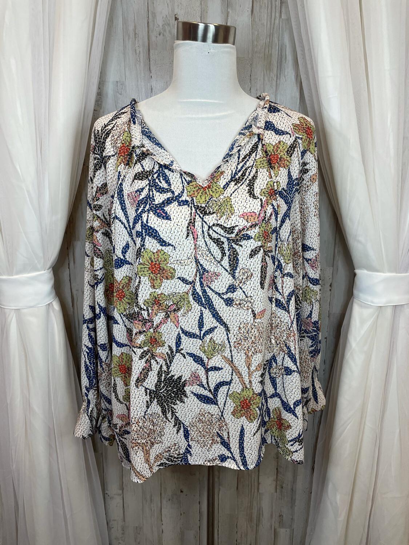 Fab'rik Cream Longsleeve Top w/Floral Print - L