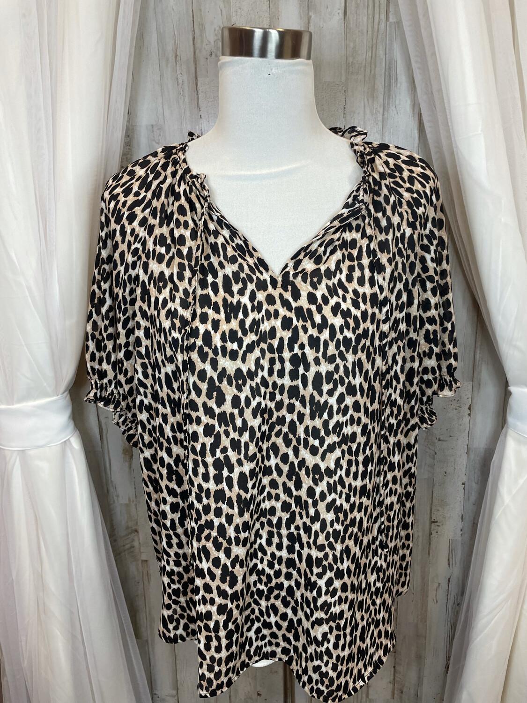 LOFT Leopard Print Short Sleeve Blouse - L
