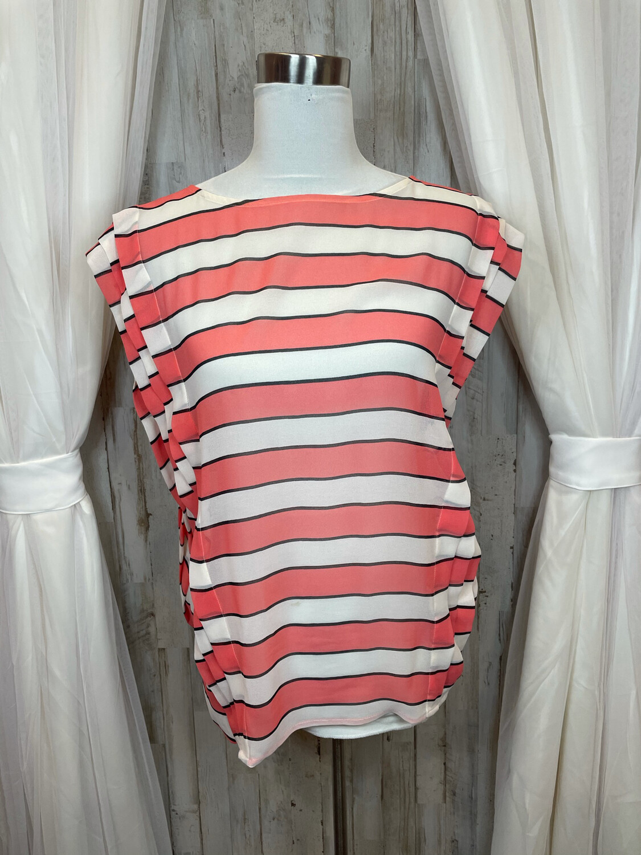 LOFT Coral & Cream Striped Sheer Top - M