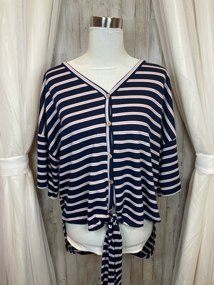 My Story Blue Top w/Pink & White Stripes & Tie - L