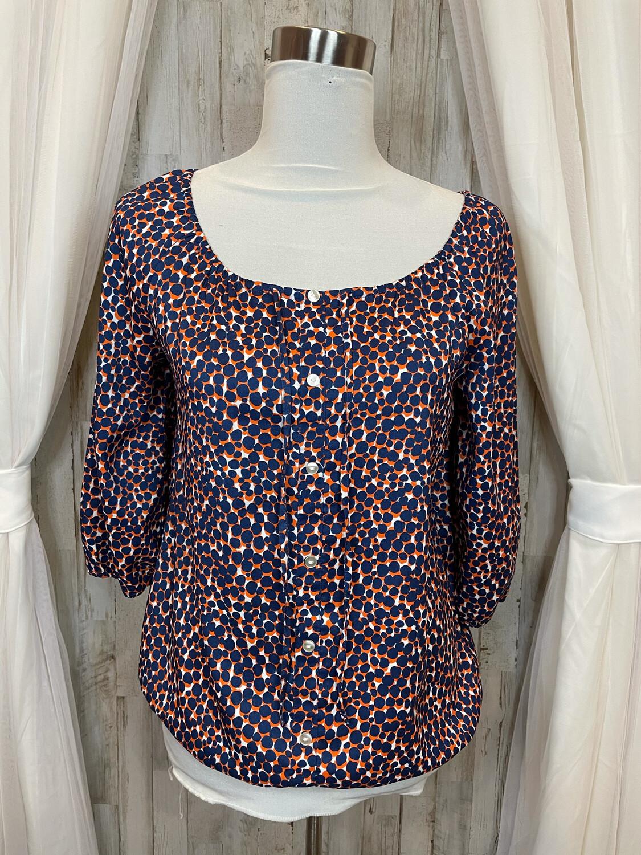 Ann Taylor Navy & Orange Dot Blouse - S