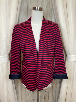 LOFT Navy & Red Striped Blazer - Size 10
