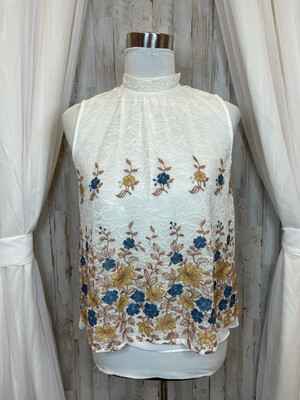 Harlyn Cream Lace Tank w/Floral Embroidery - S