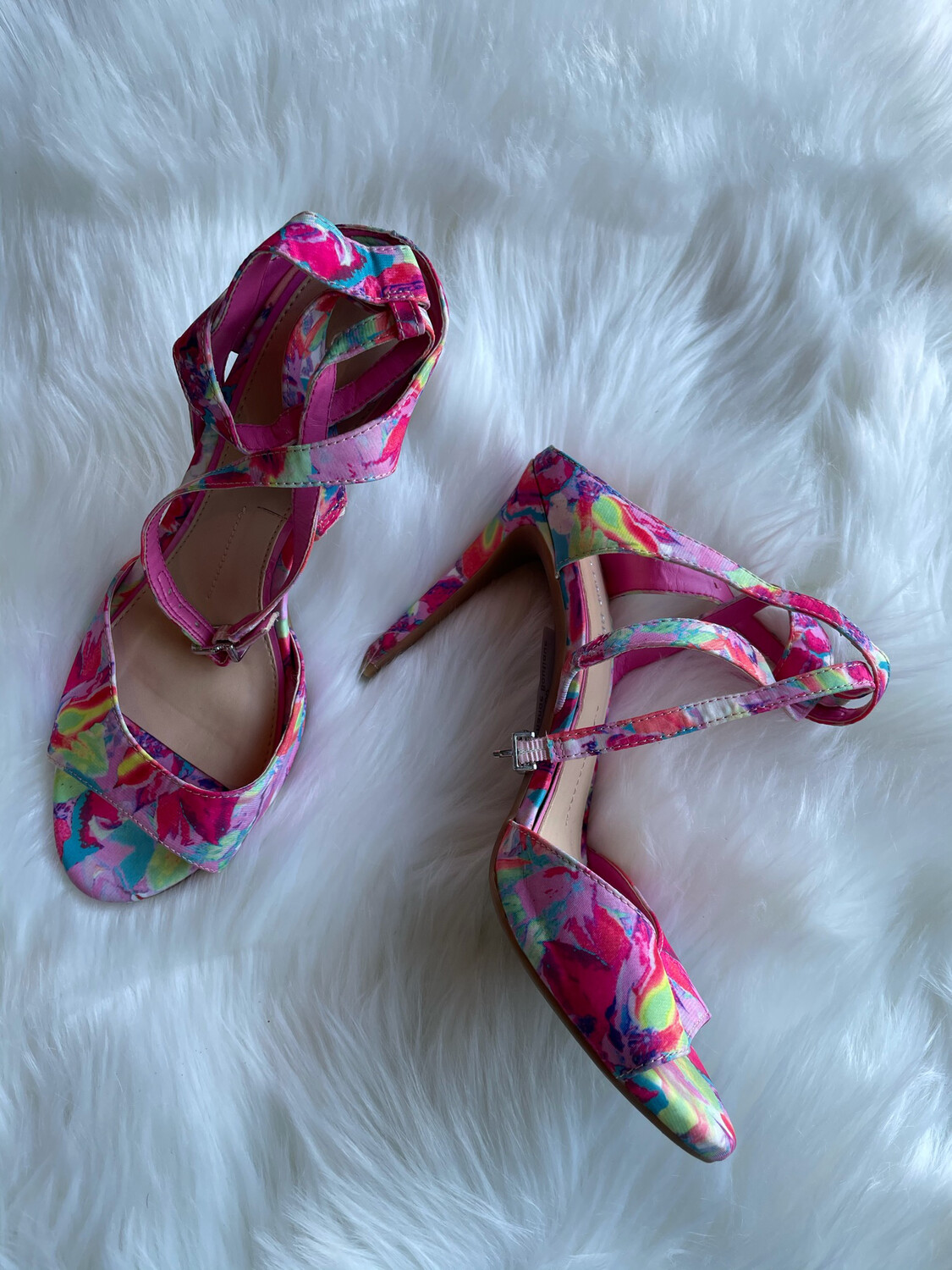 Gianni Bini Colorful Patterned Ankle Strap Heels - Size 7