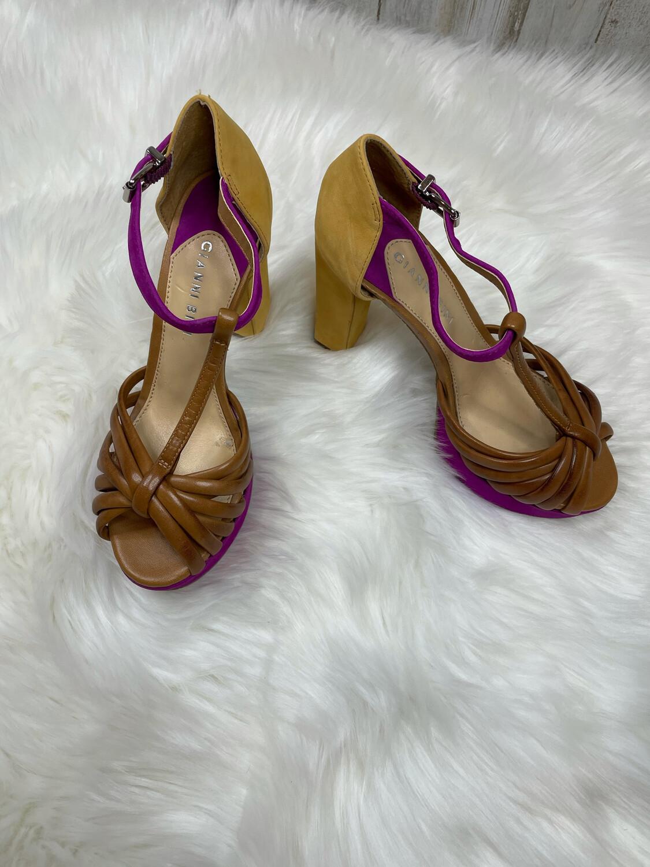 Gianni Bini Brown Fuchsia & Mustard Sandal Heels - Size 7