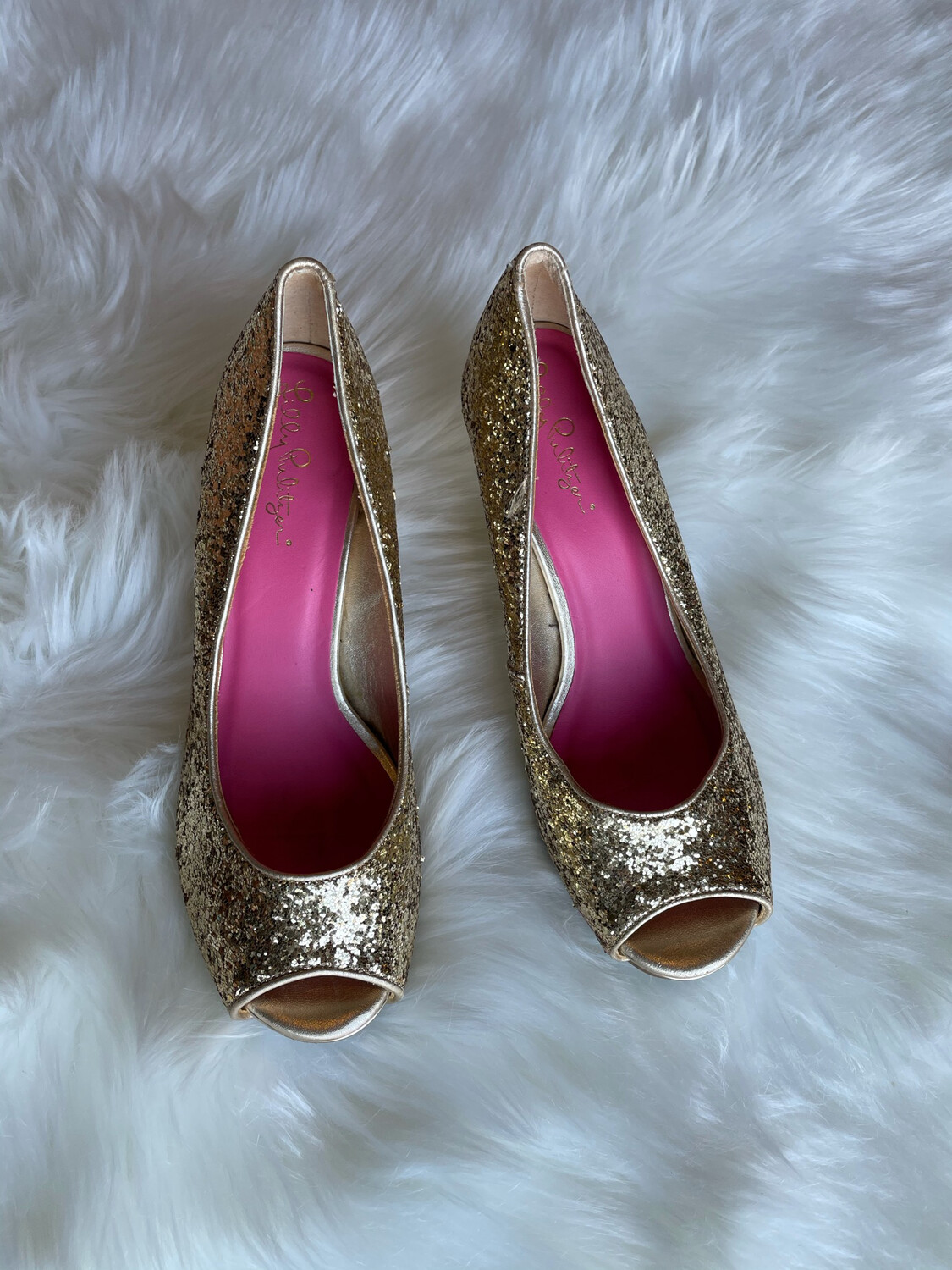 Lilly Pulitzer Gold Glitter Peep Toe Wedges -Size 7.5