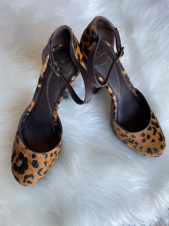 Diane Von Furstenberg Leopard Block Heels w/ Ankle Straps - Size 7