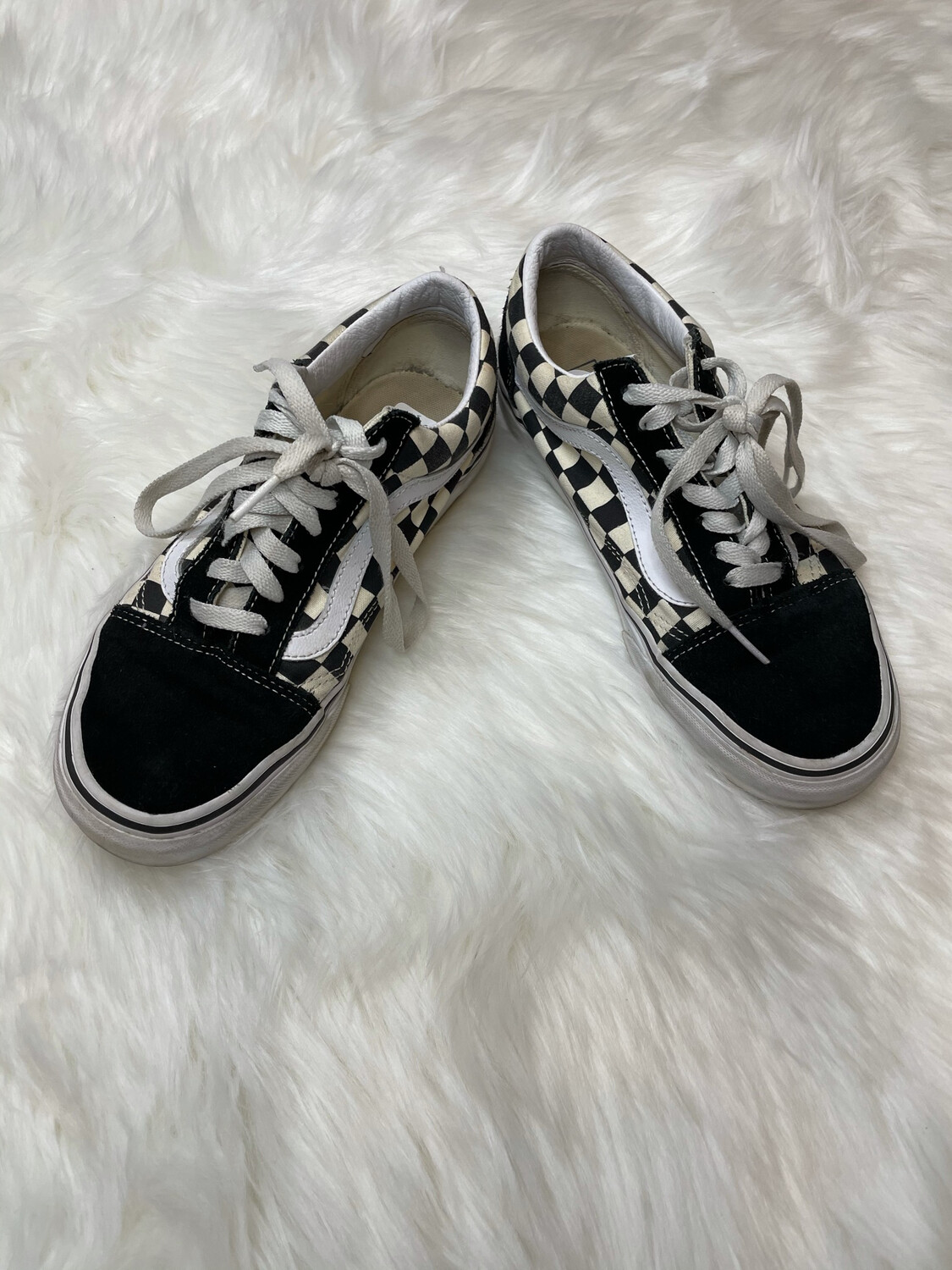 Vans Black & White Checkered Sneakers - Size 7.5