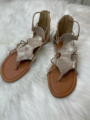 SOHOGirls Tan Strappy Flat Sandals - Size 7