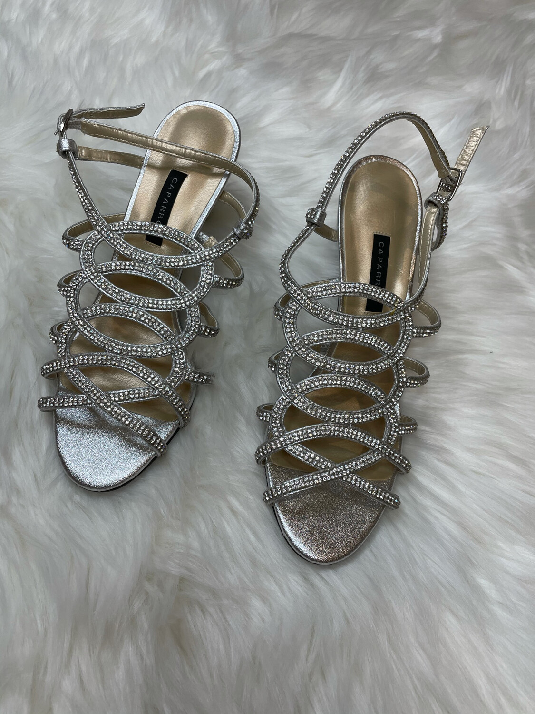 Caparros Silver Beaded Heels - Size 7