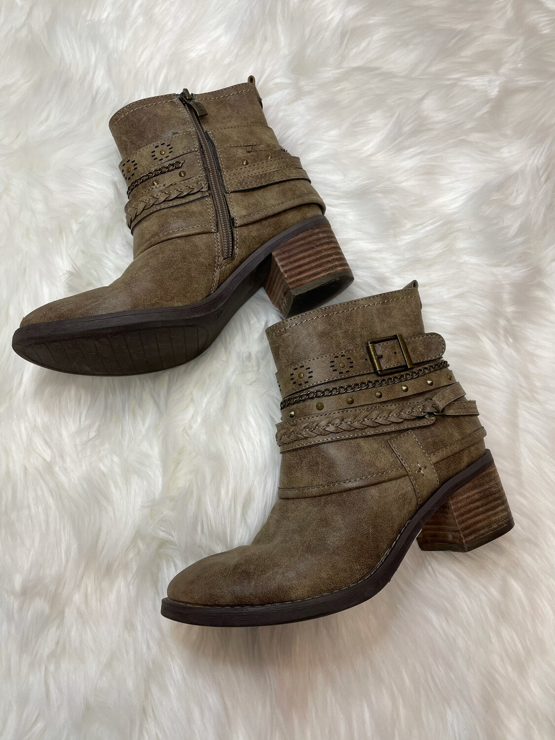 Limelight Taupe Embellished Ankle Boots - Size 7