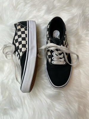 Vans Black & White Checkered Sneakers - Size 6
