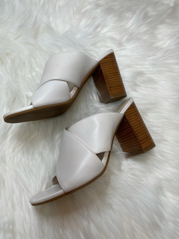 Cole Haan White Criss Cross Open Toed Sandal Heels - Size 5.5