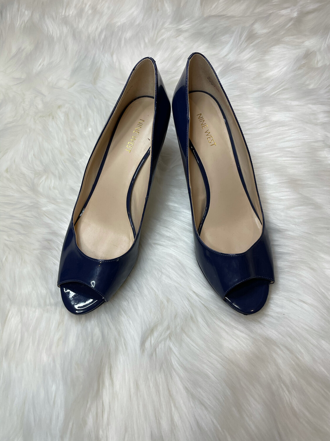 Nine West Navy Patent Peep Heels - Size 9.5