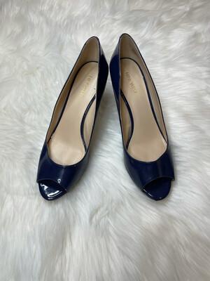 Nine West Navy Patent Peep Heels - Size 9.5