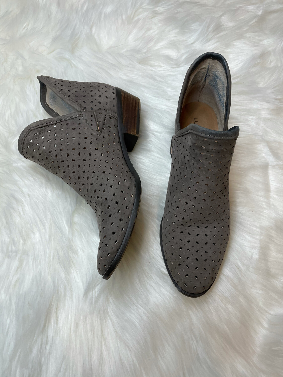 Lucky Brand Grey Slip On Ankle Booties - 9.5