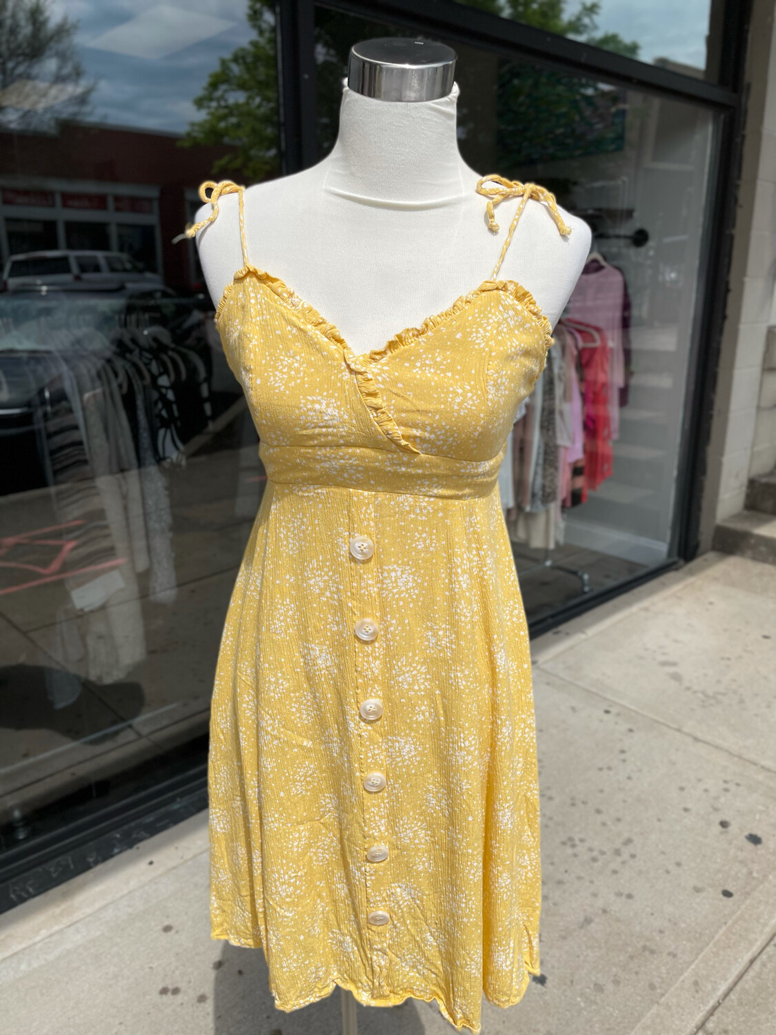 Hem & Thread Yellow Print Dress with Buttons - S