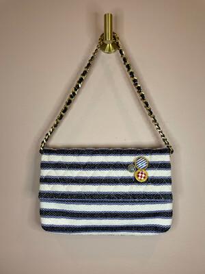Worth White & Blue Striped Fold Over Chain Crossbody