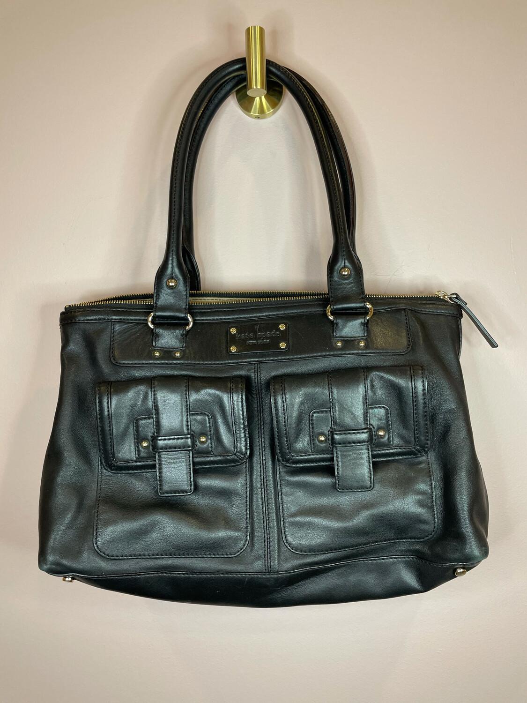 Kate Spade Black Leather Double Strap Shoulder Bag