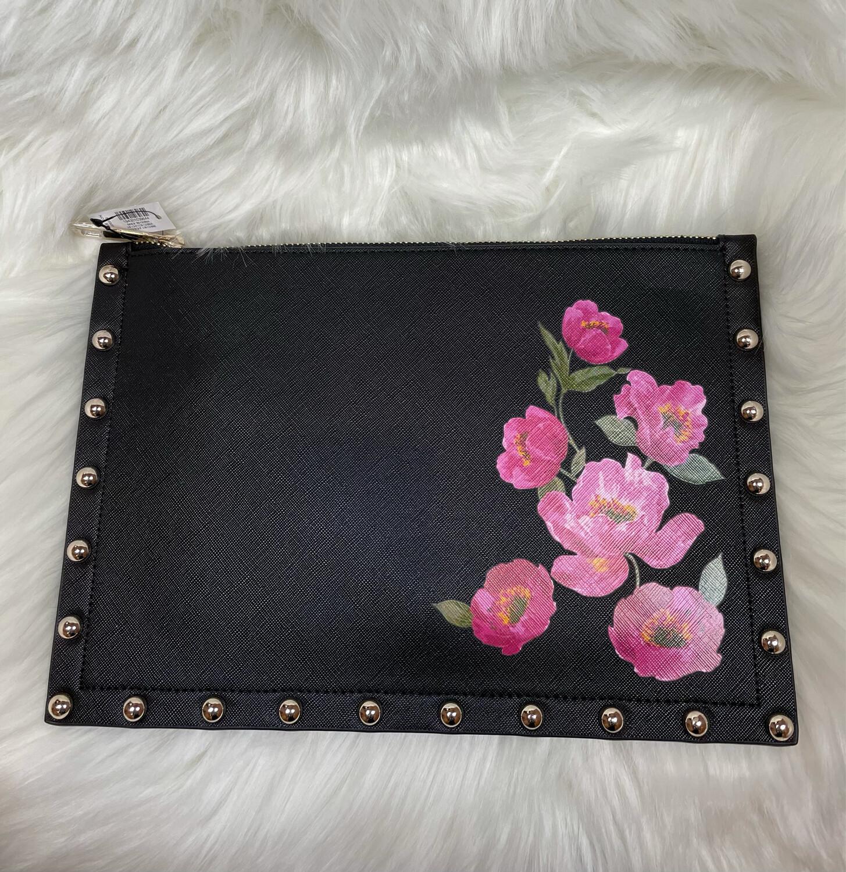 White House Black Market Black Floral Clutch