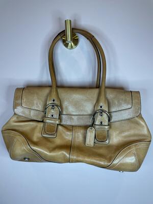 Coach Light Brown Leather Double Strap Shoulder Bag