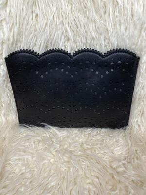 LOFT Black Patterned & Scalloped Clutch