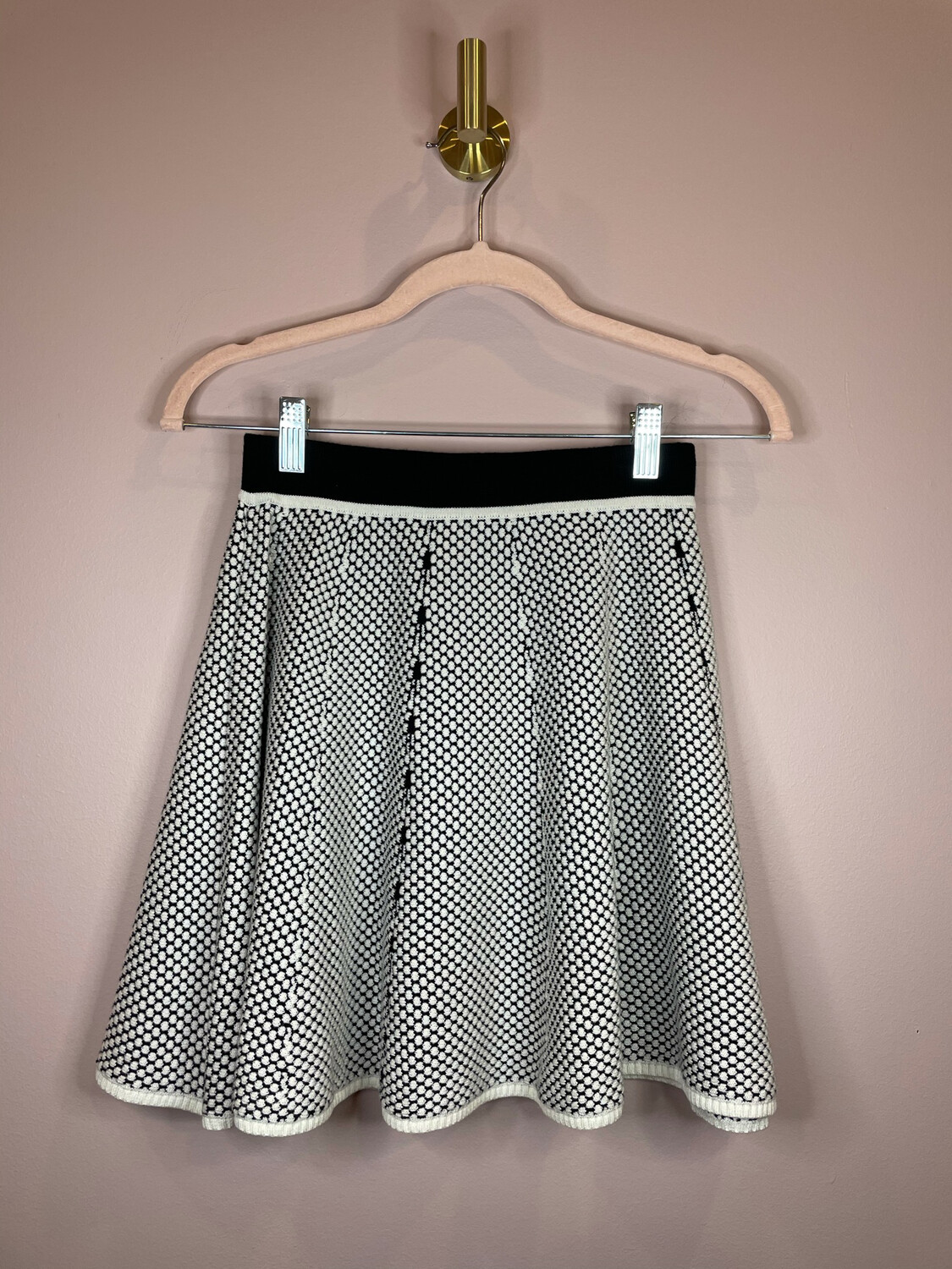 Lucy Paris Black & White Dot Skater Skirt - S