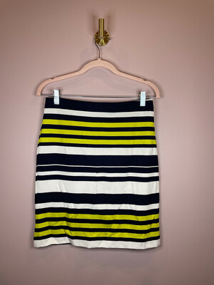 Ann Taylor Navy & Lime Striped Skirt - Size 0