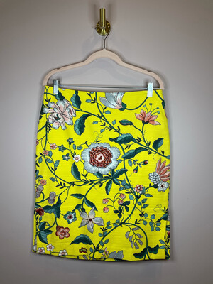 LOFT Outlet Yellow Floral Print Skirt - Size 10