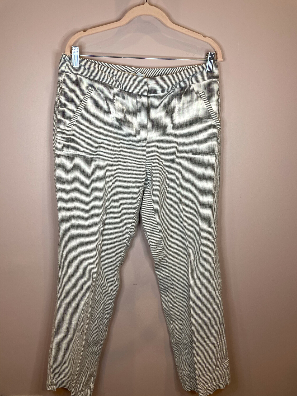 Chico's White & Grey Striped Pants - Size 4/6