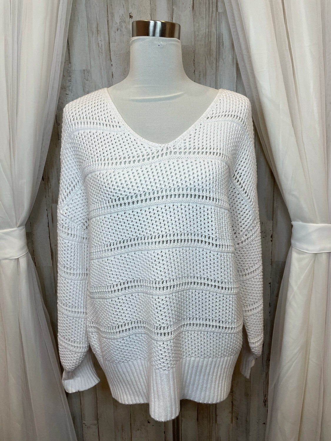 Tommy Bahama White Knit Sweater - L