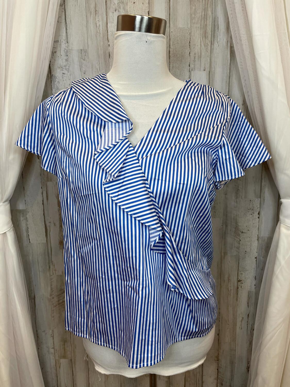 Draper James Blue & White Striped Top w/Ruffled Accent - Size 8