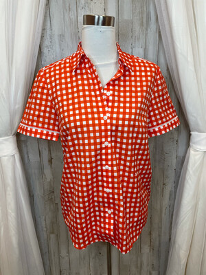 Draper James Red Gingham Button Up Top - Size 8