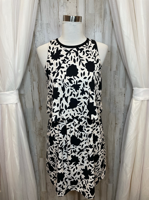 LOFT Black Floral Print Dress w/Ruffle Tank - Size 6