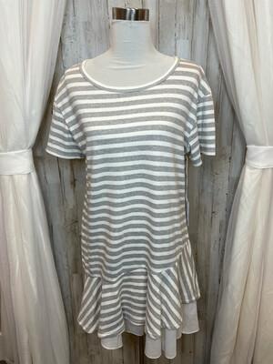 Kinley Grey & White Striped Dress w/Ruffle Trim - L