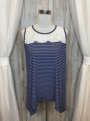 Umgee Navy & White Striped Tunic Top w/Lace Accent - M