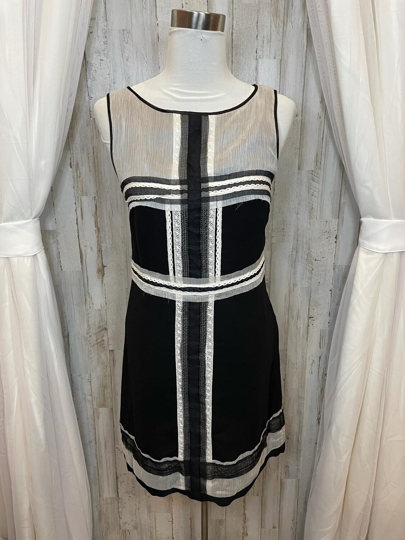 Max Studio Black Dress w/White Sheer & Lace Trim - M
