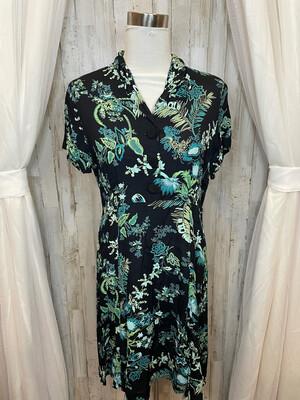 Loco Wild Navy Dress w/Green Floral Print - L