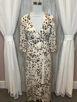 Knot Sisters Leopard Print Wrap Dress - S