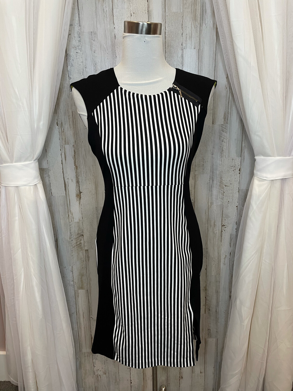 Emill Rutenberg Black & White Striped Dress w/Zipper - Size 6