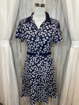 Draper James Navy Dress w/White Floral Print - Size 12